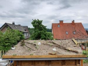 Dach der Gartenlaube fertig bepflanzt und dekoriert