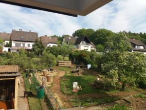 Blick aus dem Dachfenster auf den Garten