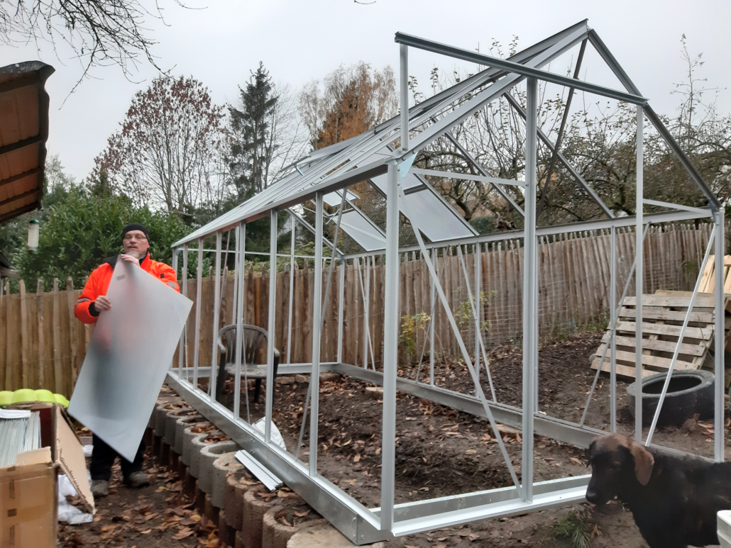 Einsetzen der Doppelstegplatten in den Rahmen des Gewächshauses