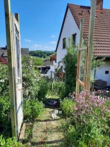 linke Seite eine alte Holztür und rechts ein altes Holzfenster