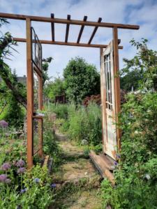 Blick durch den fertigen Rosenbogen in den Garten